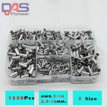 1250cs/lote mezclado 5 modelos bared Bootlace Ferrule Kit 2,5-16mm no aislado cable eléctrico engarzado extremo terminal