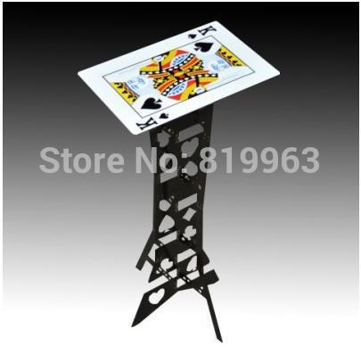 Aluminum folding table (Black,Poker Pattern) - Magic Tricks,Magia Accessories,Close Up,mentalism Magic Props,Stage,Fun aluminum alloy magic folding table blue black bronze color poker table magician s best table stage magic illusions accessory