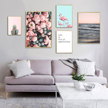 Scenery Canvas Painting Flowers Sea Poster Nordic Flower Wall Art Pink Picture Green Cactus Poster Quote Canvas Art Unframed