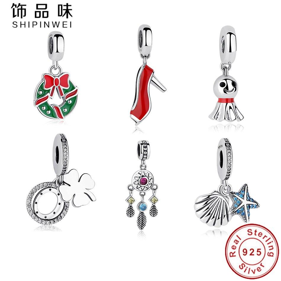 Shipinwei Original 925 Sterling Silver Charm Pendant Fit Pandora Charm Bracelet&Necklace for Women Christmas Days Jewelry Gift