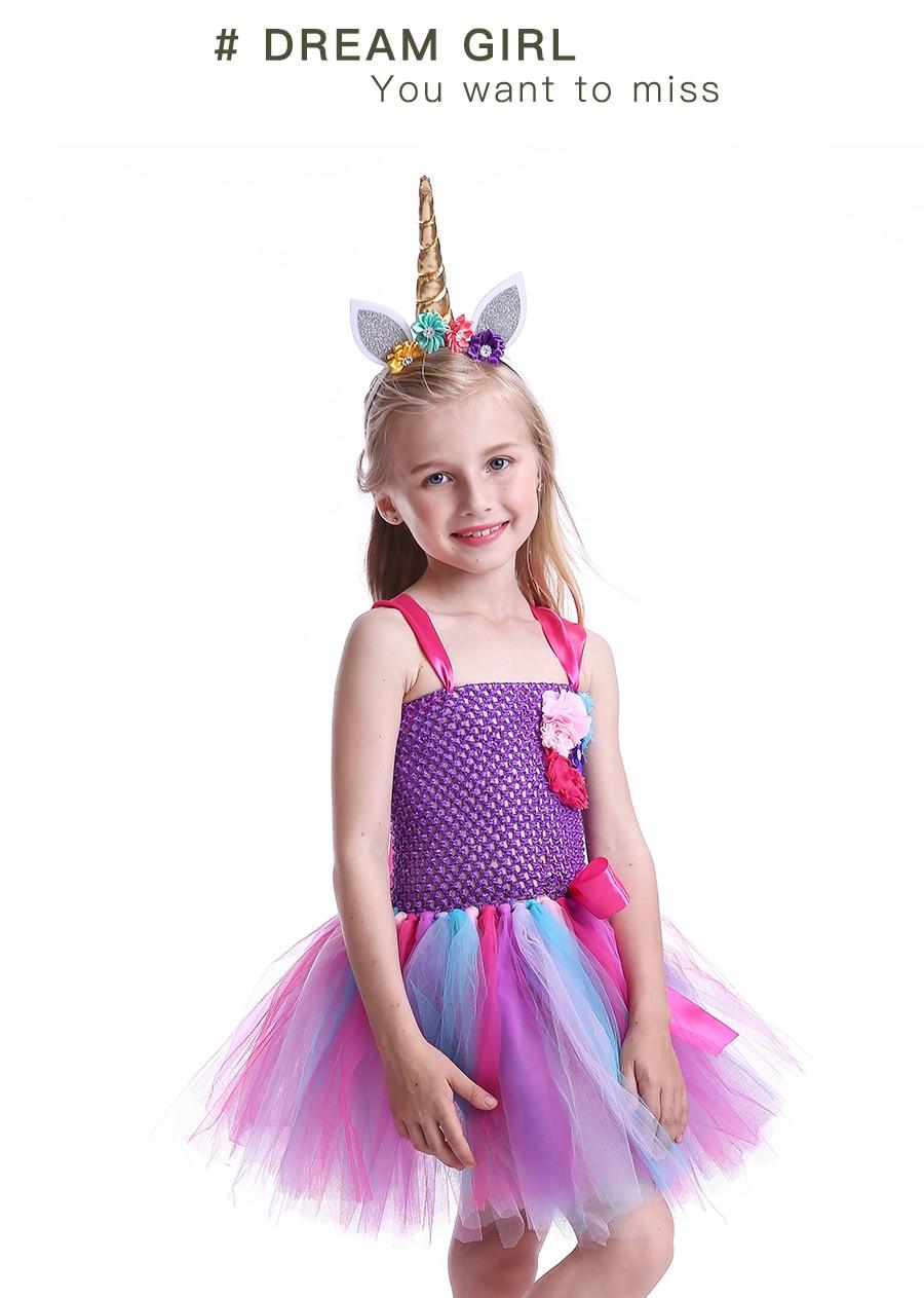 Kids Girls Unicorn Tutu Dress with Headband Knee-Length Pastel Rainbow Flower Girl Dress Kids Halloween Pageant Party Costume (7)