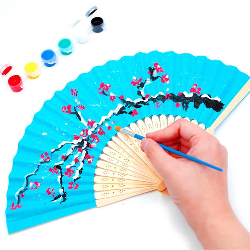 1 pcs Trung Quốc Gấp Cầm Tay Tre Giấy Người Hâm Mộ Pocket Fan Nền Trang Trí Đám Cưới Sinh Nhật Bé Tắm Đảng Trang Trí Nội Thất