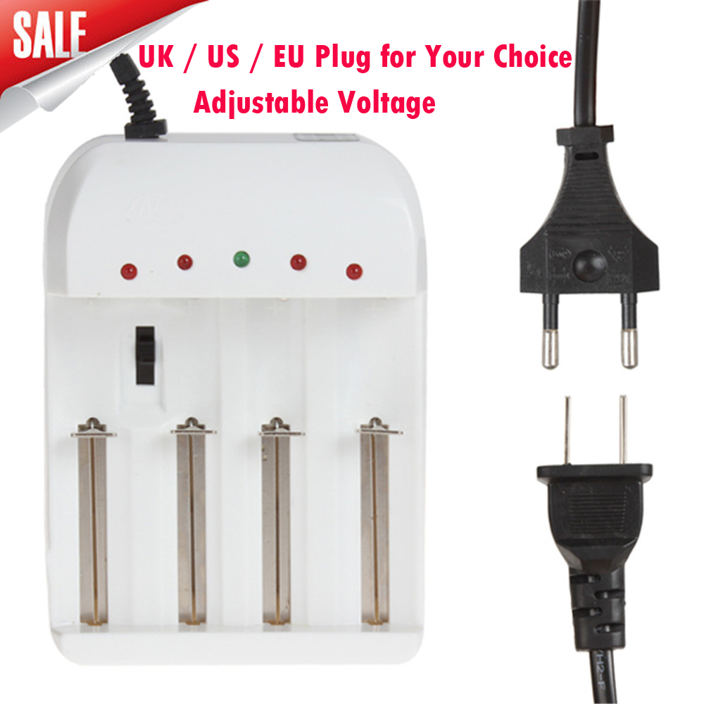 Universal Adjustable 4 Battery Charger with US UK EU AC Plug for AA AAA 16340 18650