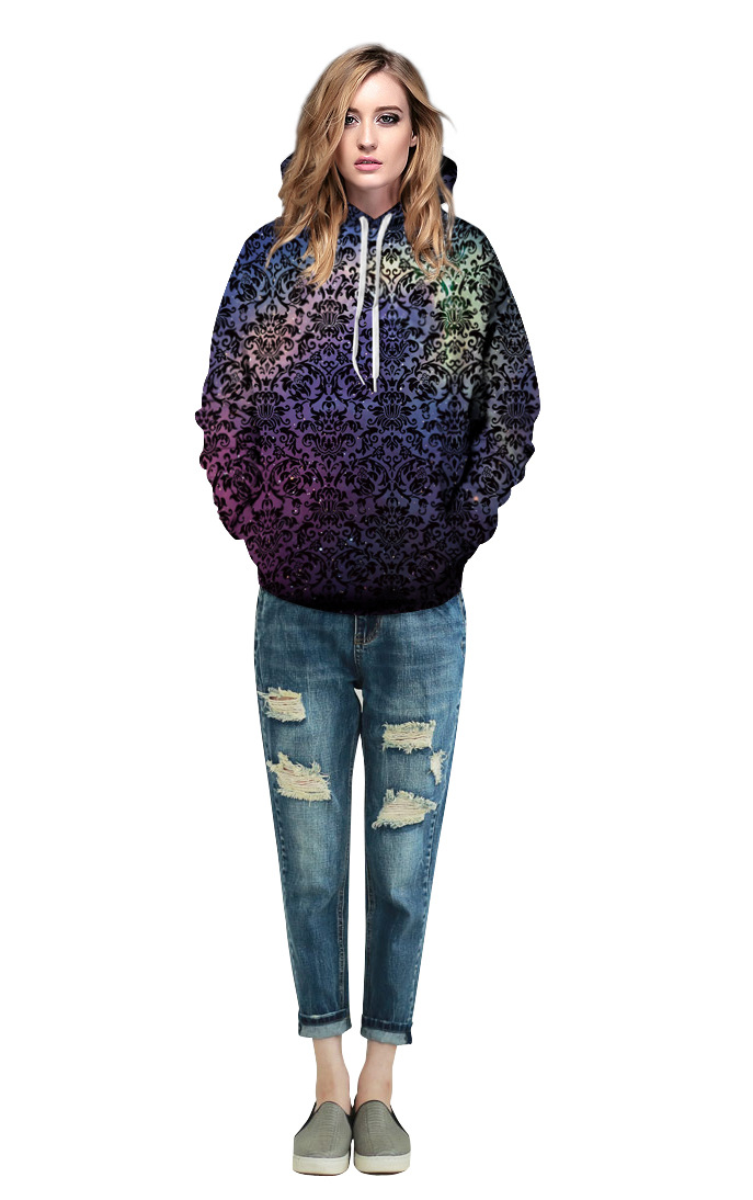 Mr.1991INC Star Sky totem Flowers Print Men Sweatshirts with Pocket Hooded Hoodies Autumn Winter Men Casual Sweatshirt Pullovers