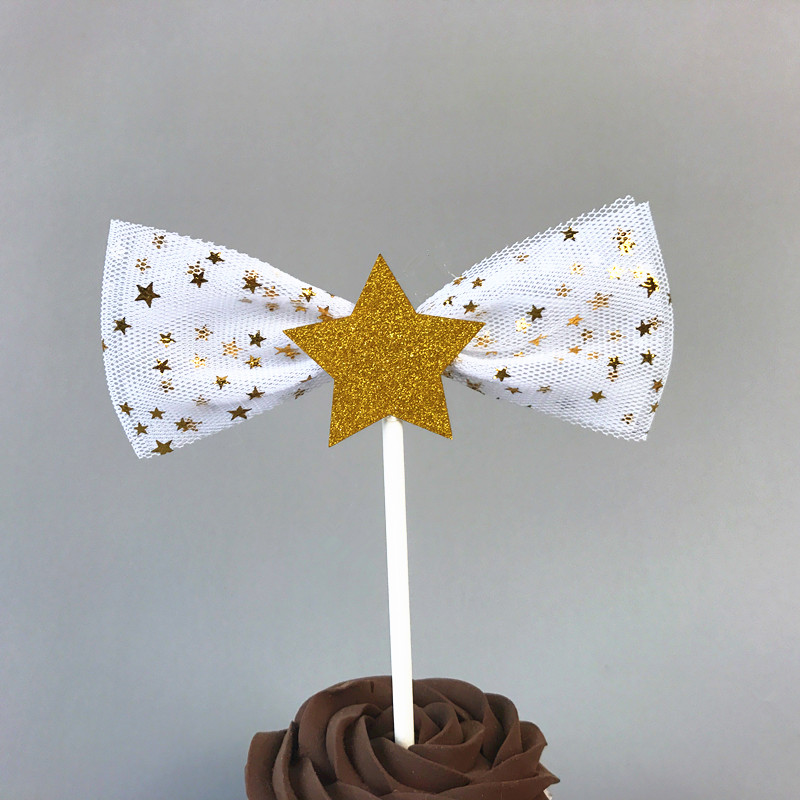 6Pcs Golden White Stars Bowknots with Net Yarn Birthday Cake Topper Cake Decoration for Wedding Party Lovely Gifts