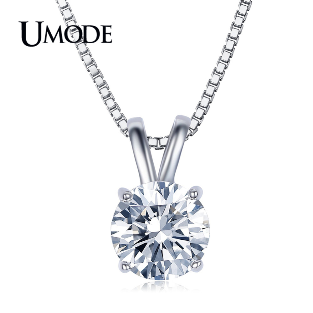 UMODE Fashion CZ Pendant Necklace for Women Trendy Zircon White Gold Clear Wedding Jewelry Long Box Chain Accessories AUN0047