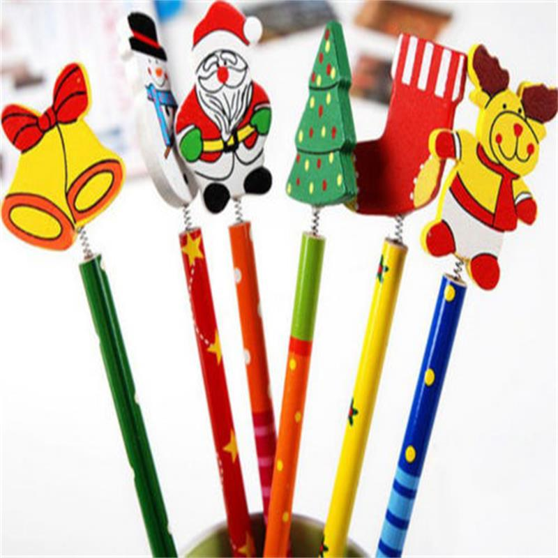 6PCS Creative  Children Stationery Pencil Korean Wooden School Desk Use Christmas Drawing Writng Pencil Standard Pencil