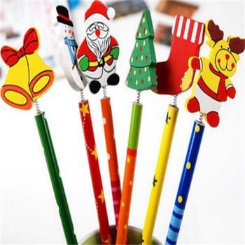 6PCS Creative  Children Stationery Pencil Korean Wooden School Desk Use Christmas Drawing Writng Pencil Standard Pencil