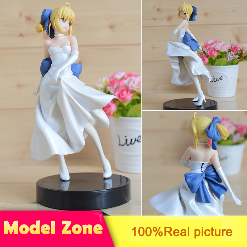 Fate Stay Night WhiteDress Saber <font><b>Sexy</b></font> Girl <font><b>Model</b></font> doll PVC 21cm Box-Packed Japanese Anime Figurine Action For Kids Toy Brinquedos image