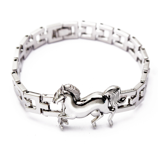 19cm Fashion Horse Charms Stainless Steel Bracelet Men Women 2017 Jewelry Dropshipping