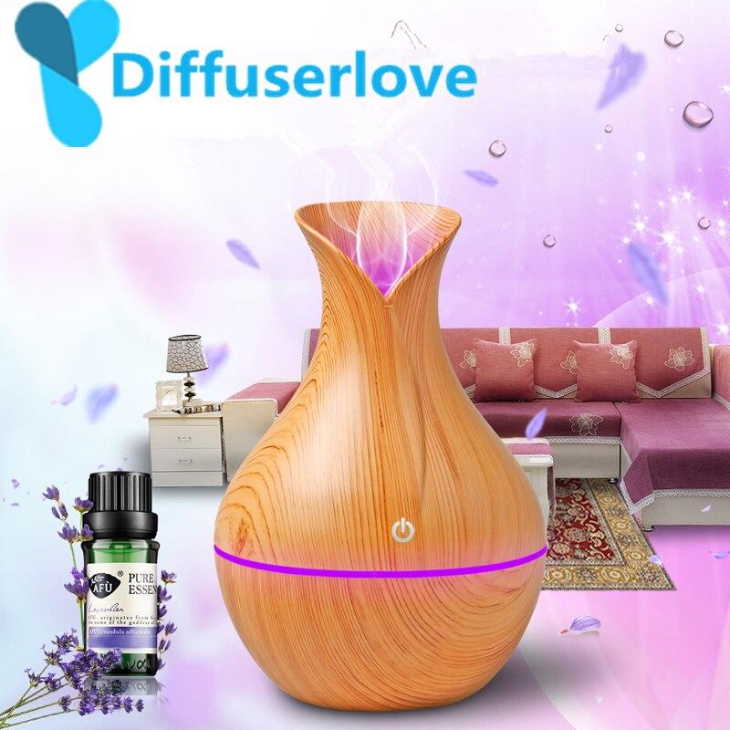 Diffuserlove USB difusor 130 Ml Aroma de aceite esencial difusor ultrasónico humidificador fresco de la niebla de la 7 cambio de Color LED luz de la noche
