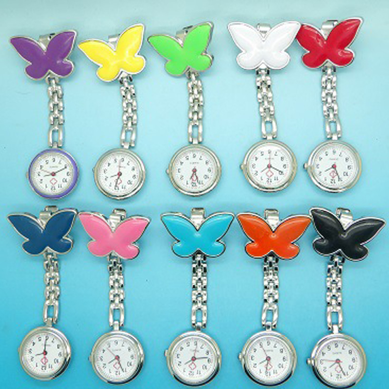 Wholesale 100pcs/lot Alloy Quartz Nurse Pocket Watches Butterfly Shape Metal Doctor Watches Pocket FOB Watches Custom Logo Free