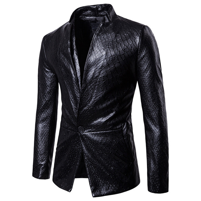 2018 New Fashion Men suits Blazers Gothic Style wash leather design fashionable solid color Men Blazers Single Button M to XXL