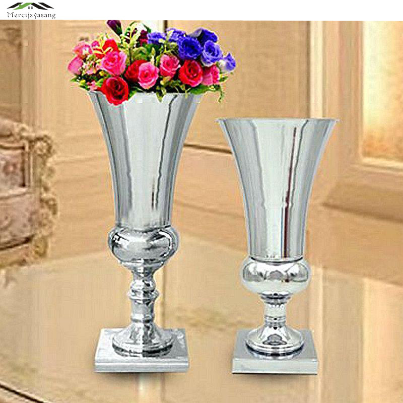 12pcs Lot Silver Metal Wedding Flower Vase Table Centerpiece For Mariage Metal Vase Flowers