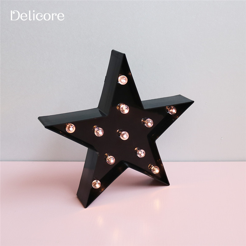 DELICORE Black Star Led Night Light Warm White Light Table Lamps For Kids Children Gift Party Wedding Room Decoration S003-B creative cute green cartom car led night light for children baby kids white warm white bedside lamp resin night lamp gift