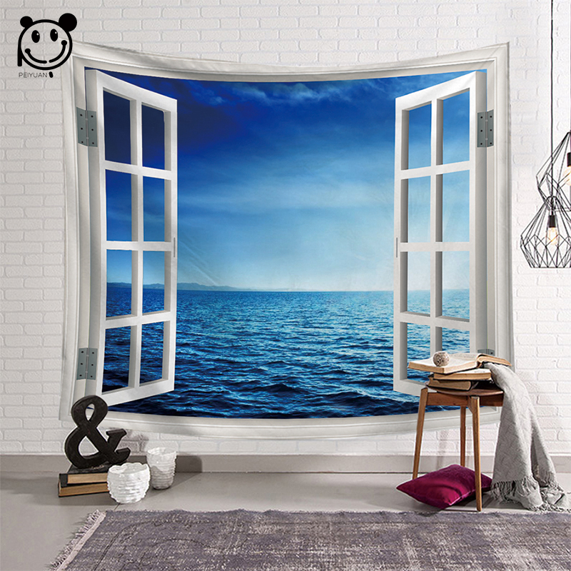 Peiyuan Wall Hanging Window Tapestry Green Succulents 3D Flower Art Carpet Blanket Yoga Mat Decoration Home Wall Tapestry