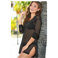 HOT 2016 Summer Vintage European American Hollow Sexy Fishnet Beachwear Bikini Blouse Wrap Dress Women Sexy