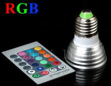 Best quality Free Shipping 3W E27 RGB LED Spotlight Bulb Lamp with Remote Controller