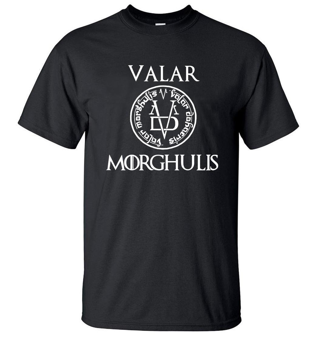 2019 Summer Tshirt Men Valar Morgulis All Men Must Die Valyrian Game of Thrones   T     Shirts   Casual 100% Cotton Men's Tops Tees