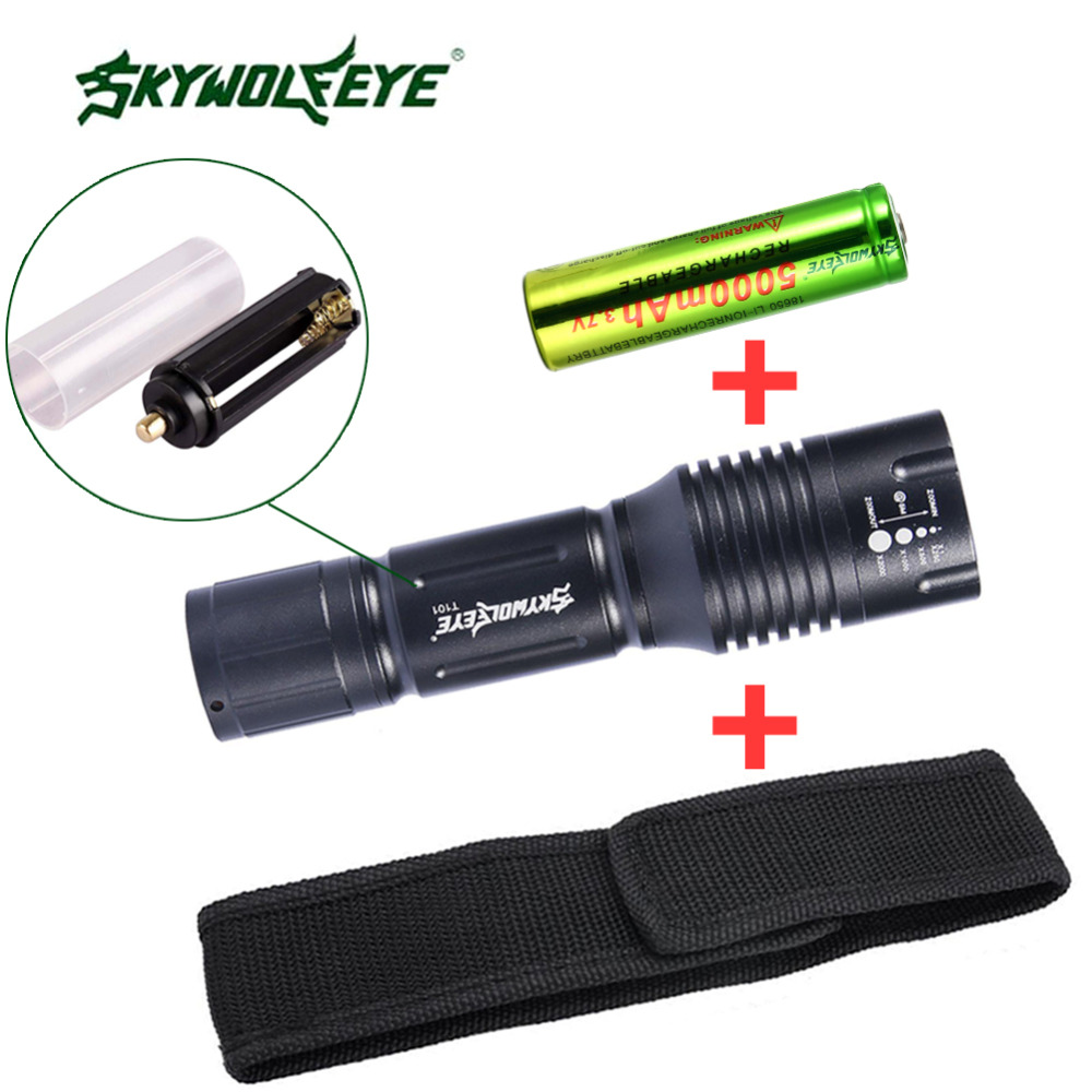 SKYWOLFEYE 3800 LM Zoom LED Torch Portable Waterproof lanterna Camping Hiking+18650 Battery +cloth cover