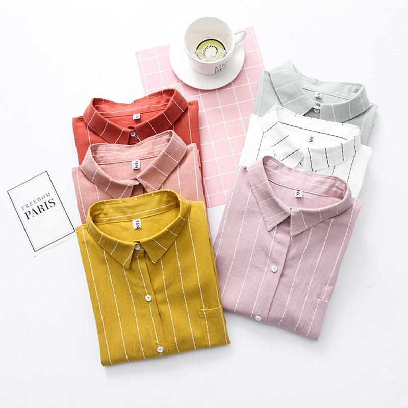 2020 Spring Women Blouse Vintage Stripe Long Sleeve White Women's Shirts Blusa Feminine Casual Cotton High Quality Tops Blouses