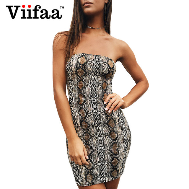 3f86cacaf825 Viifaa Snake Print Animal Mini Dress Strapless Sexy Summer Dresses Women  2019 Off Shoulder Party Short