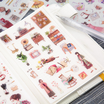 6 Sheets/pack Elegant Girls Daily Label Stickers Decorative Stationery Scrapbooking Diy Diary Album Stick - discount item  10% OFF Stationery Sticker