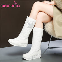 MEMUNIA Plus size 35-44 Snow boots women wedges shoes plush platform mid calf boots white winter boots thick fur warm lady botas(China)