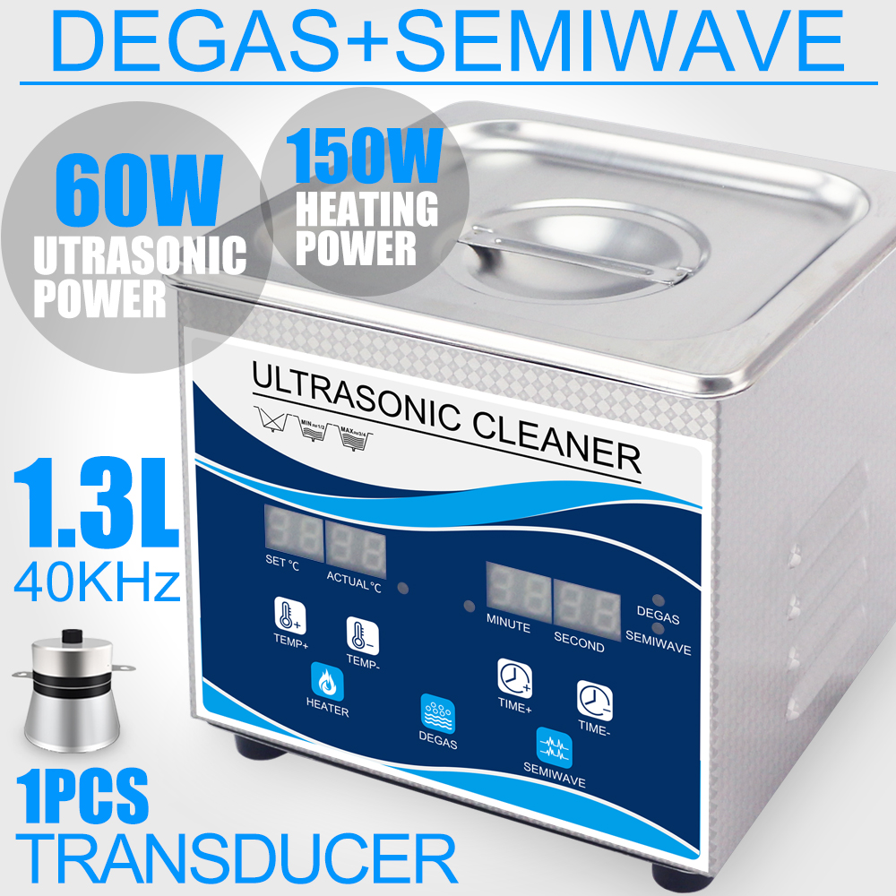 Ultrasonic Cleaner 60W Home 1.3L Cleaner Bath Degas Heater Double Frequency Ultrasound Vacuum Washer Eyeglass Watches Jewelry pagani design top luxury brand watches mens stainless steel band fashion business quartz watch wristwatch male