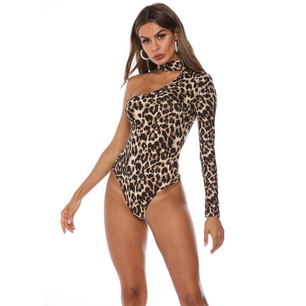 EIFER  Leopard Snake Print Halter One-shoulder Sexy Bodysuit Women New Fashion Spring Summer Bodycon Jumpsuit