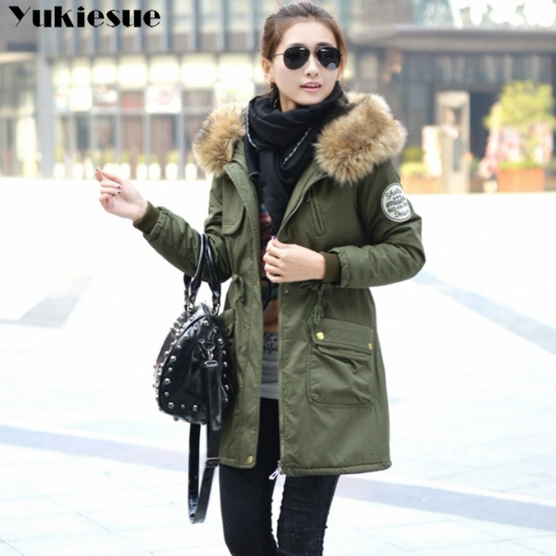 Image 2 - Fashion Autumn Warm Winter Jackets Women Fur Collar Long Parka Plus Size lapel Casual Cotton Womens Outwear Park  Plus size-in Parkas from Women's Clothing
