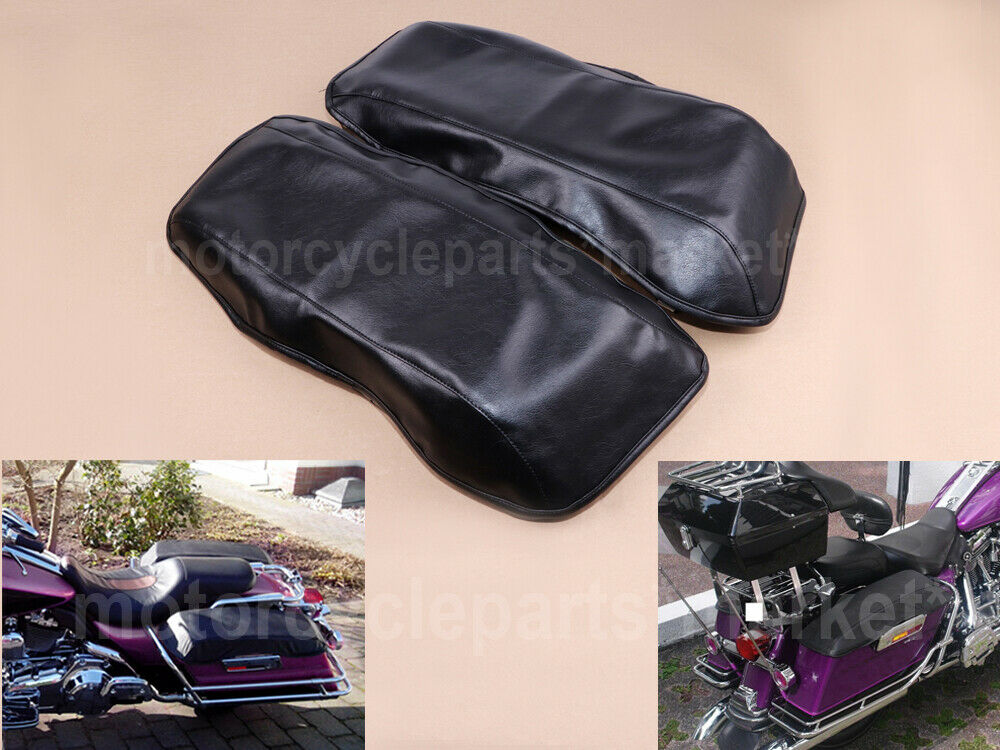 Motorcycle Vinyl Saddlemen Saddlebag Lid Covers For Harley Touring Electra Road Street Glide Road King FLH FLT 1993-2013