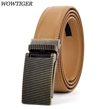 WOWTIGER negro rojo 35mm genuino cinturón de cuero para hombres marca  trinquete Correa automática hombres de lujo cinturones cinturon hombre 8c7688cc6adf