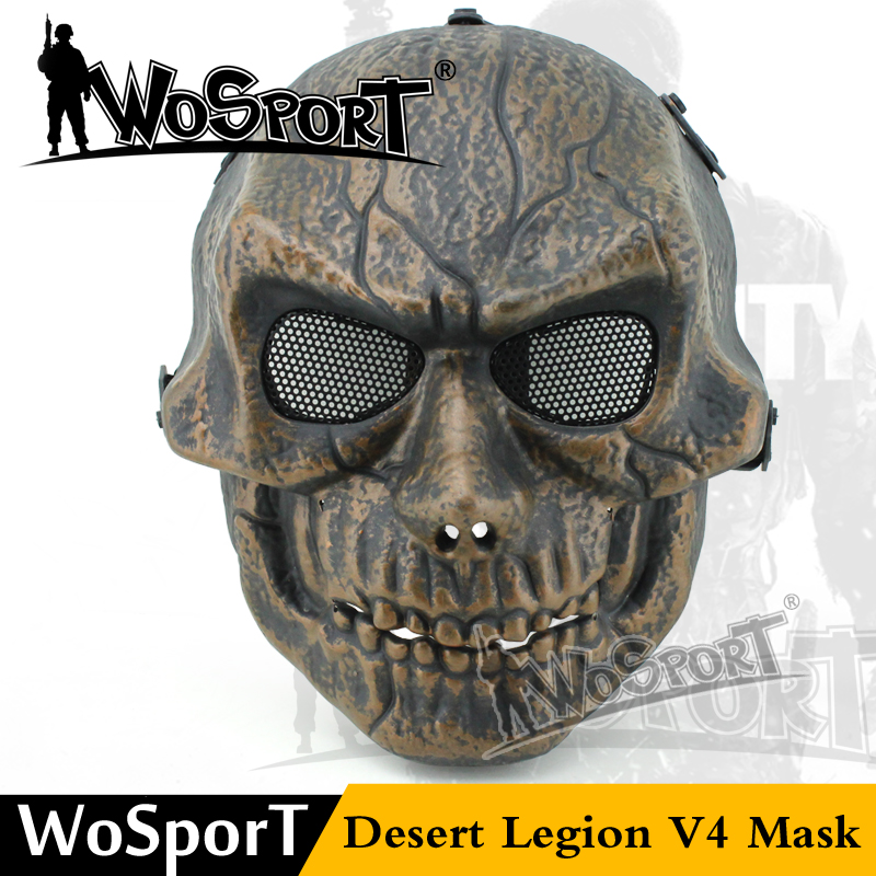 WOSPORT Tactical Desert Legion V4 Ghost Metal Mesh Protective Mask for Horror Cosplay Halloween Party War Game Airsoft Shooting
