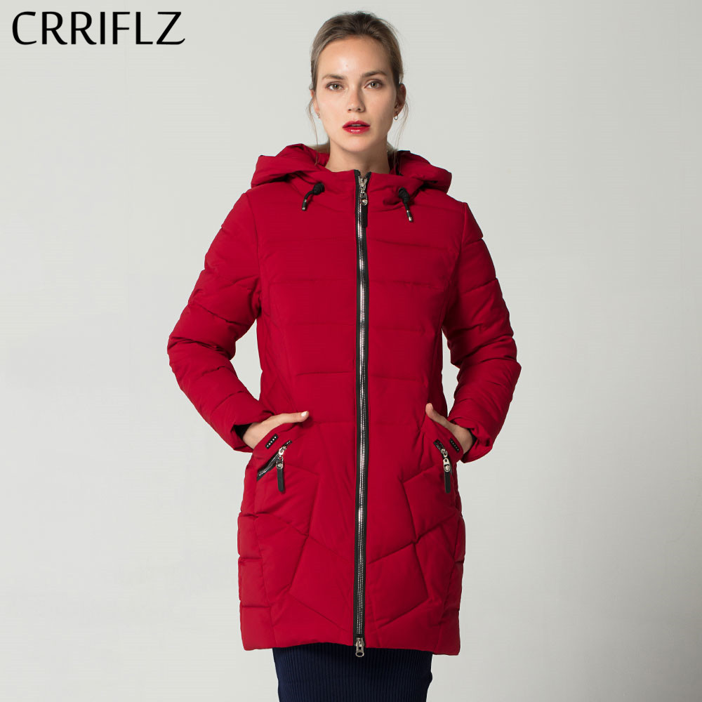Fashionable High Quality Warm Winter Jacket Women Hooded Coat   Parkas   Long Female Outerwear CRRIFLZ New Winter Collection