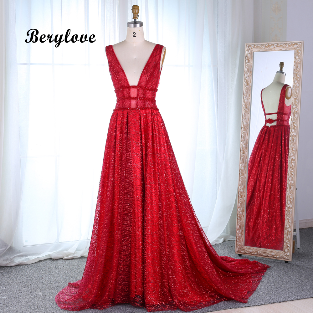 Red And White Evening Dress: Aliexpress.com : Buy BeryLove A Line Sequin Red Prom Dress
