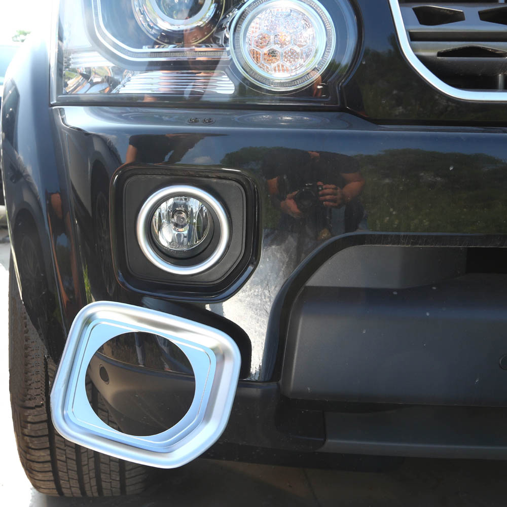 Front bumper fog head lights lamps stickers covers trim for land rover discovery4 freelander 2 freelander2 chromium styling