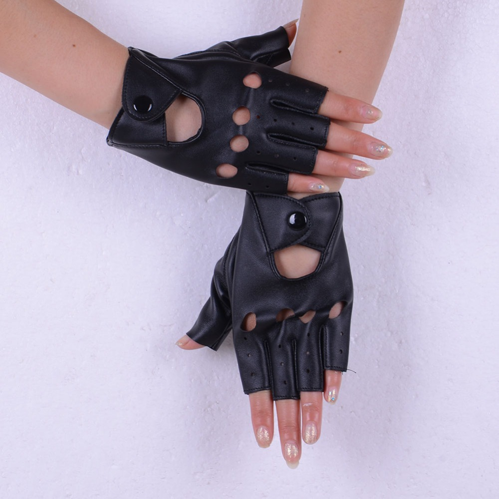 Fake leather driving gloves - 2016 Hot Women S Punk Faux Leather Driving Fingerless Mittens Dance Motorcycle Gloves China Mainland