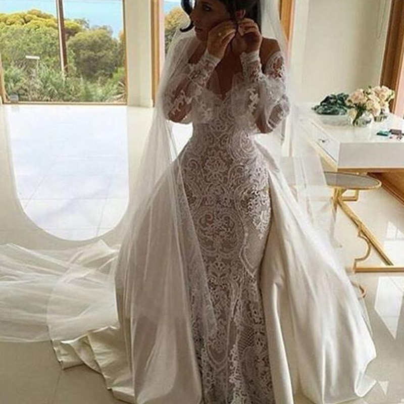 Vestido de noiva 2016 mermaid wedding dress luxurious for Detachable train wedding dress