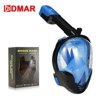 Diving Mask Black Blue Underwater Anti fog panoramic Fold Full Face Snorkel Mask Swimming Mask Snorkeling Mask Scuba Glasses