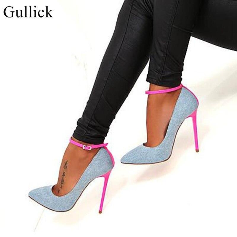 ג 'ינס כחול Gullick אישה רצועת קרסול הבוהן מחודדת סקסיות נעליים עקב גבוהה משאבות שמלת נעליים עקב 2018 הכי חדש פינק פגיון