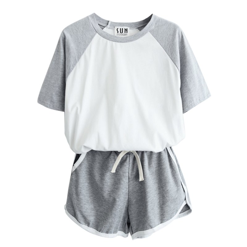 2 Pcs/Sets Tracksuit Summer Short Sleeve T-shirt For Women Spring And Shorts Suits Casual