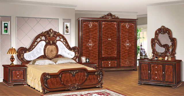 Luxury suite bedroom furniture of Europe type style including 1 bed 2  bedside table 1 chest a dresser and a makeup chair-in Bedroom Sets from ...
