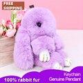 23 cm Conejito Mullido Llavero envío de la nueva moda de piel de conejo Rex mujeres del encanto del bolso llavero colgante del coche titular niñas cumpleaños