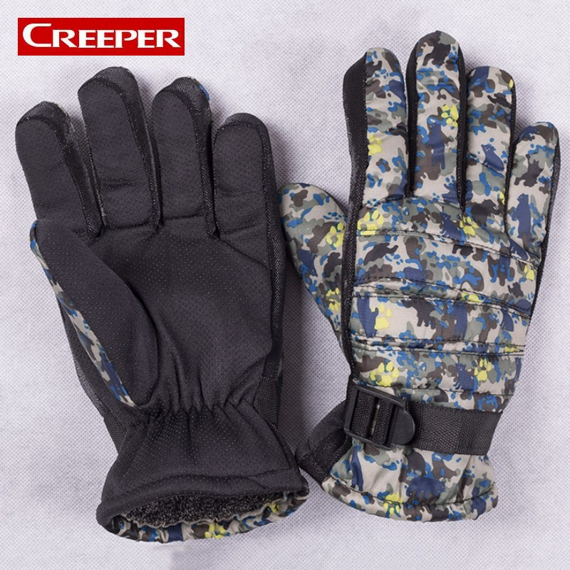 Camouflage Printed Mens Winter Fleece Lined Snowboard Gloves Outdoor Motocycle Guantes Thermal Skiing Military Gloves For Men