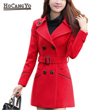 HCYO Women Coats and Jackets Warm Thick Wool Blends Outwear Jacket Womens Long Overcoat Coat Autumn Winter Plus Size