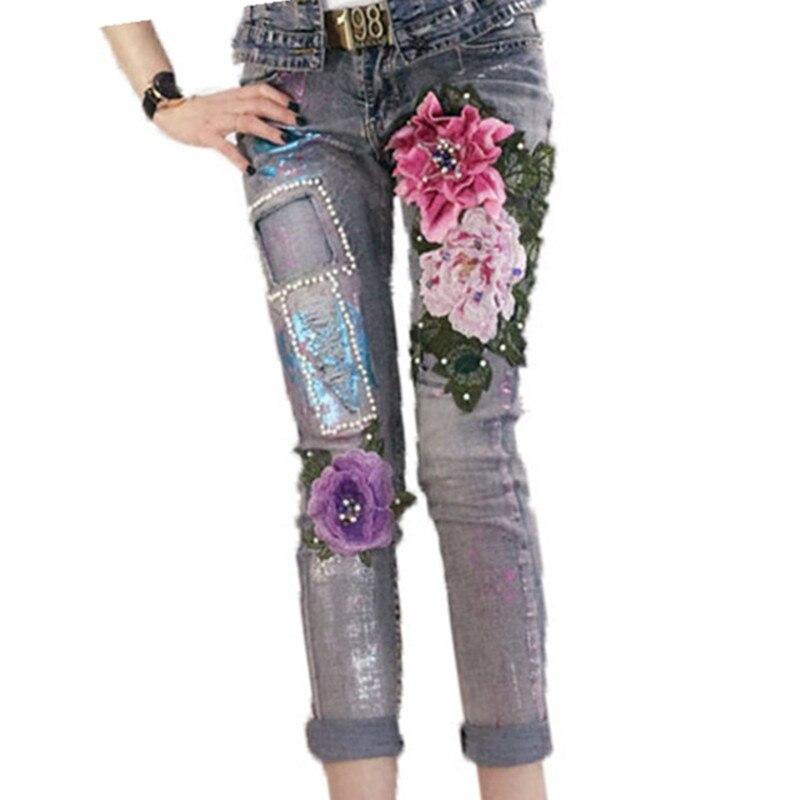 Pantalones Vaqueros Pant Elástico Floral Plus Denim Lápiz Rebordear Size 3d Estiramiento Bordado Señoras 8729k Slim nqqAwIXg