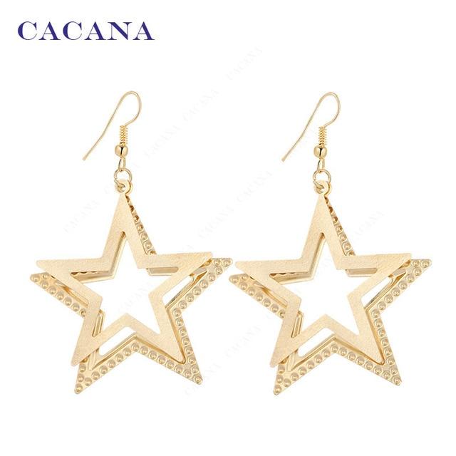 CACANA Dangle Long Earrings For Women Double Five-pointed Star Bijouterie Hot Sa
