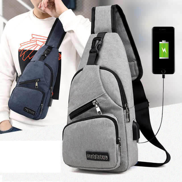 Men Chest Bags USB Charging Waterproof Oxford Canvas Crossbody Bags Small Sling Single Shoulder Bags Travel Chest Pack Male