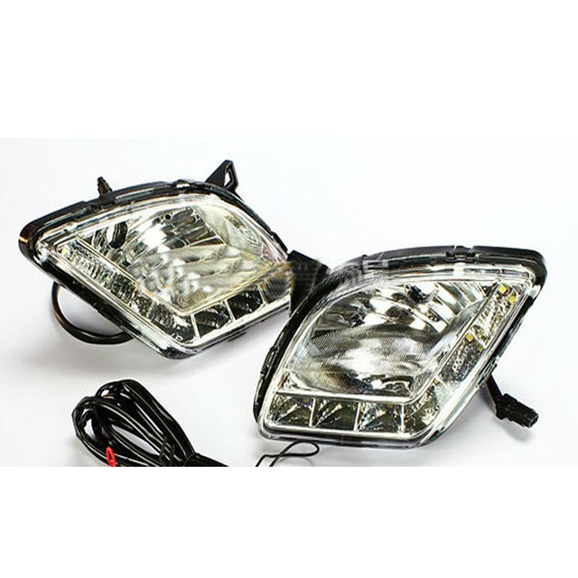2pcs Daytime Running Lights Auto led daytime running lights Car LED Fit For  Hyundai VERNA